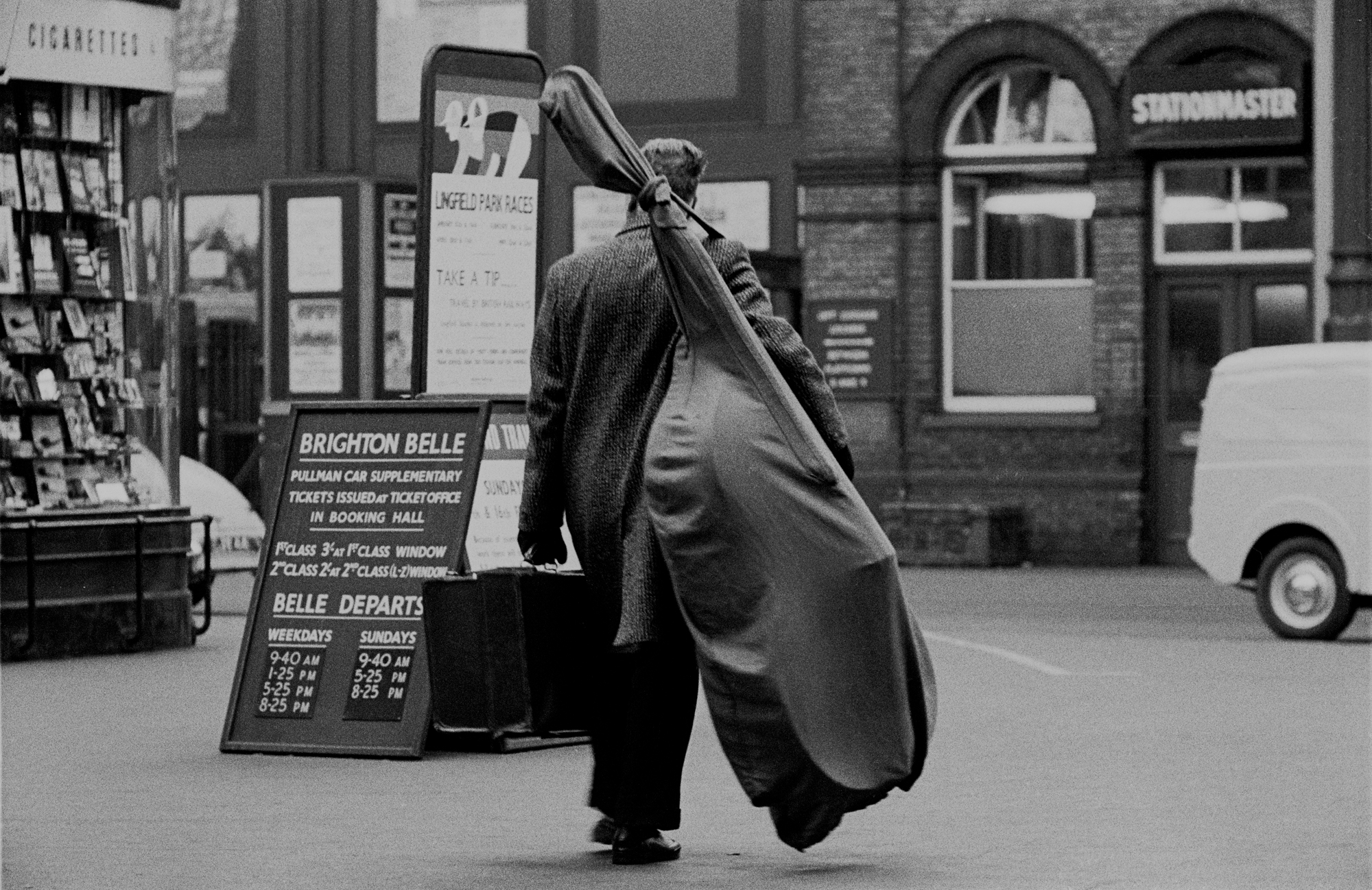 AT THE SEASIDE - Man with Double Bass - Brighton Station - 1959